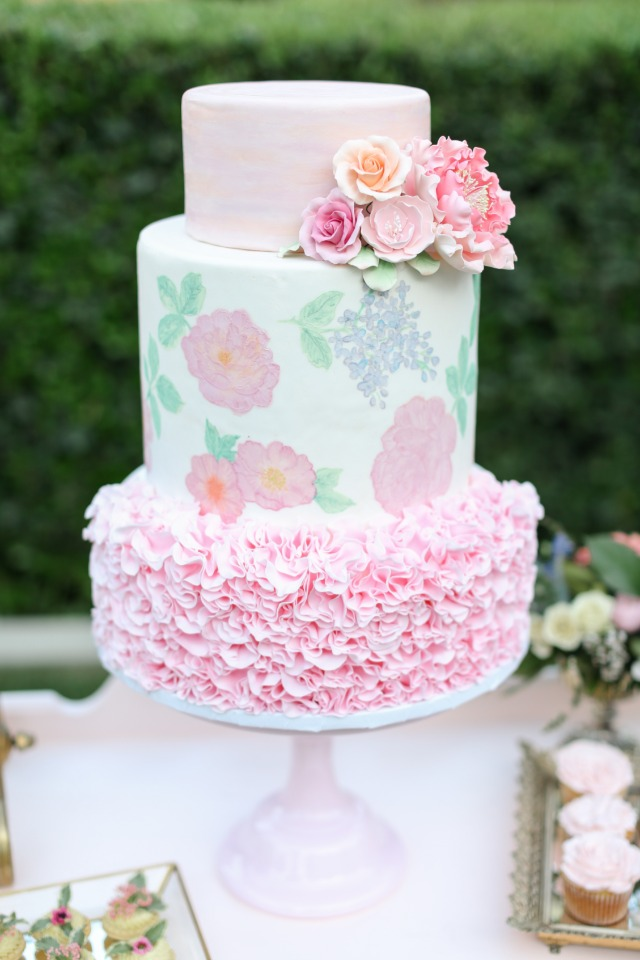 Pink and peach painted cake