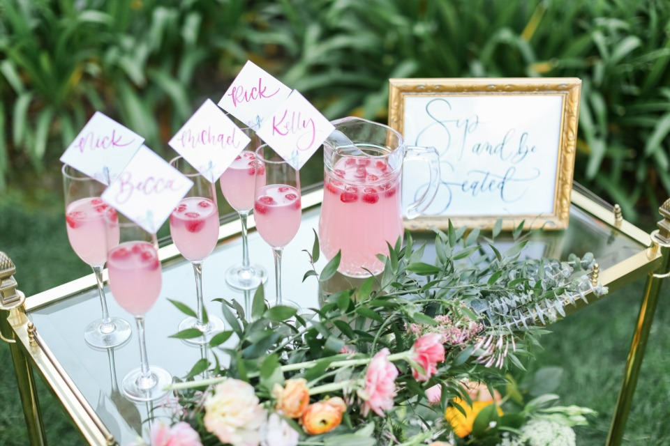 Cocktail escort card bar