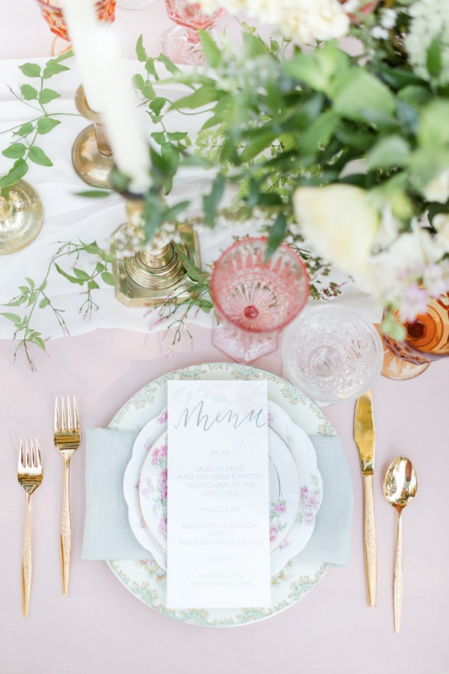Gold flatware and the prettiest menu