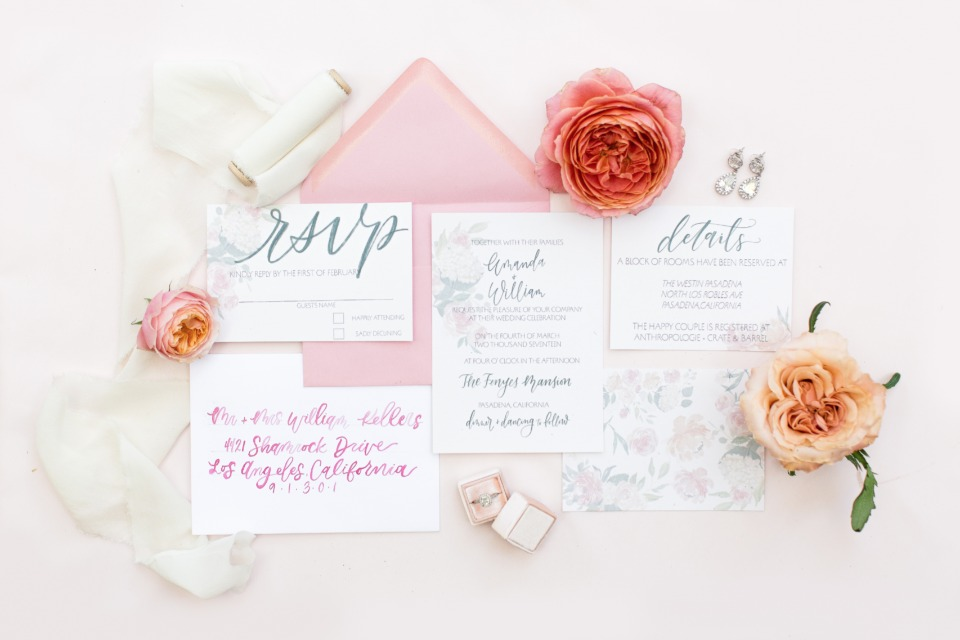 Elegant pink invitation suite