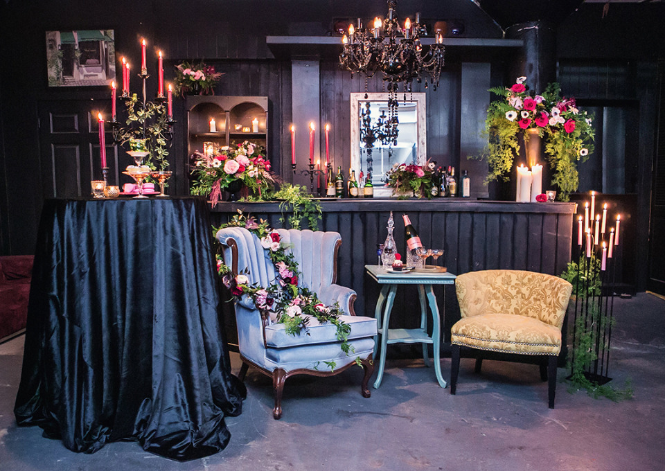 dark romance wedding cocktail seating