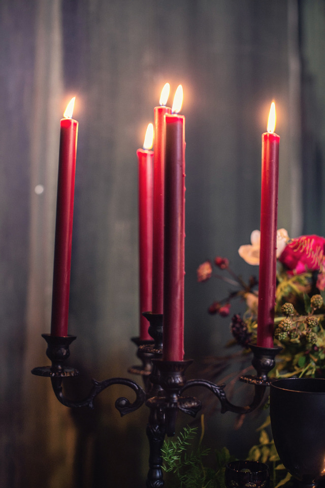 deep red taper candles