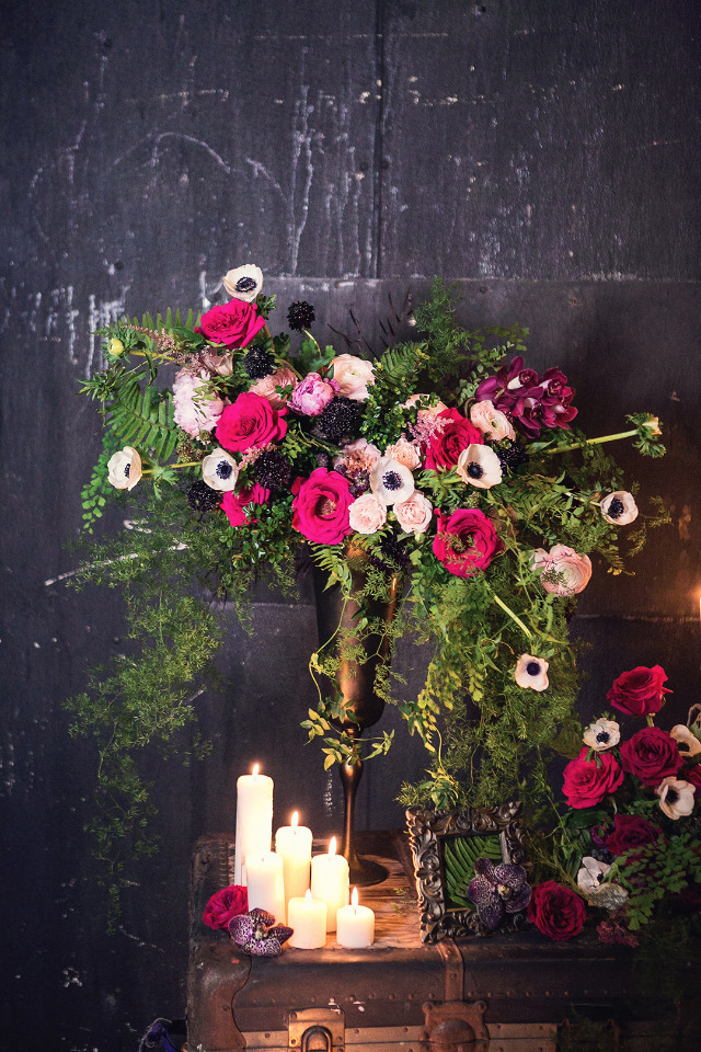 beautiful pink and black wedding centerpiece