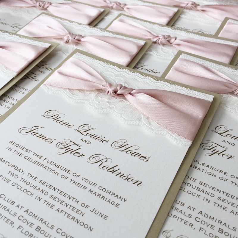 Tie the knot with our classic lace invitations!