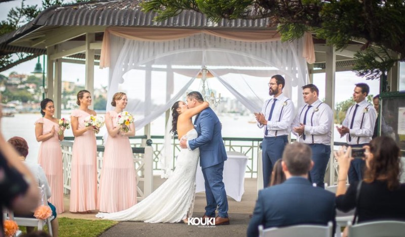 A little transparent draping goes along way as pictured here at this Brisbane Newstead Rotunda wedding ceremony by https://www.brisbaneweddingdecorators