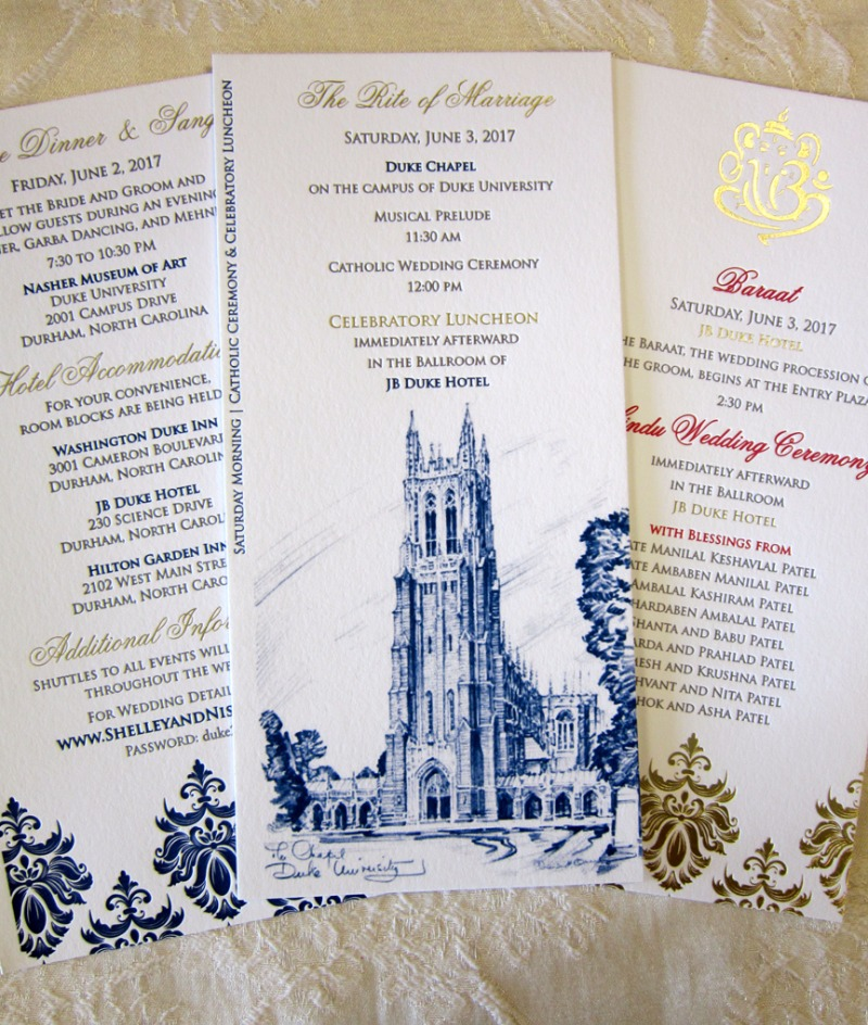 Duke University Chapel, you never looked so good. Customized insert cards for a Catholic and Hindu wedding weekend, designed exclusively