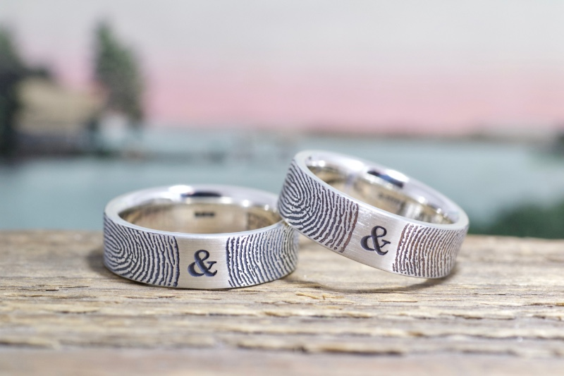 You and me together forever! It's like you both just touched the ends of your fingers on the ring, each leaving your mark. Handmade