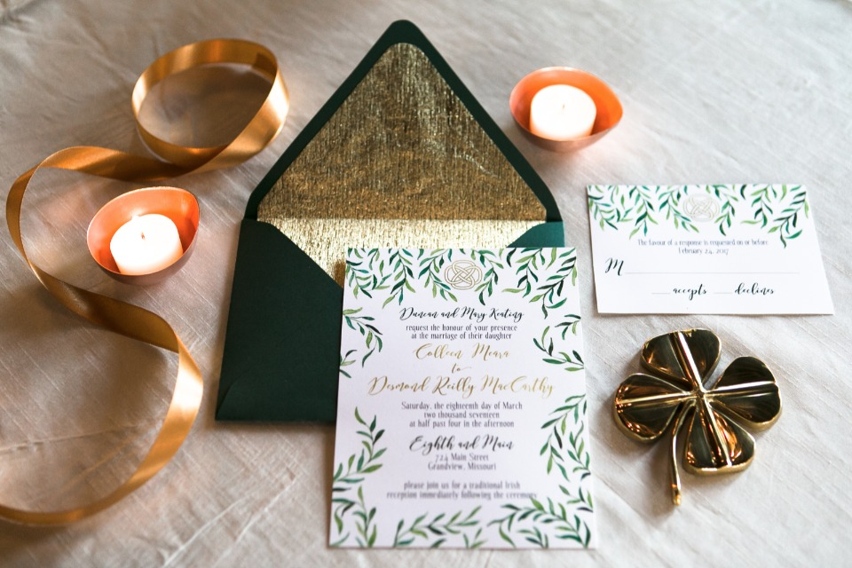Watercolor greenery invite