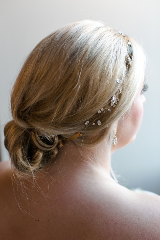Dainty hair piece and low bun