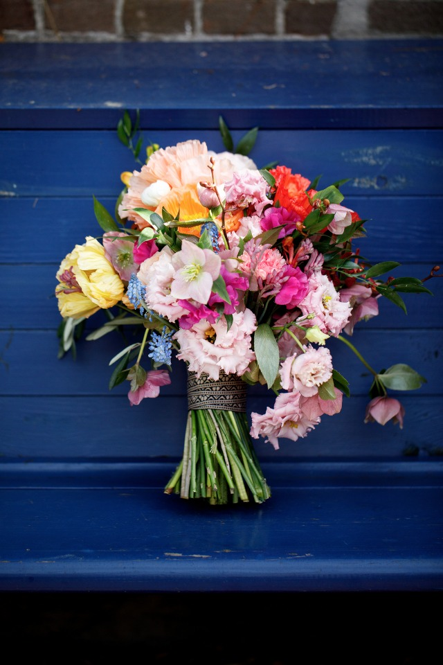 wedding bouquet with tons of bright colors