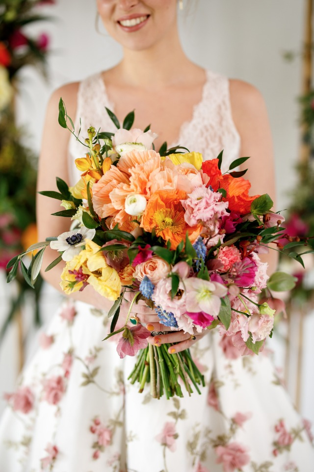 brightly colored wedding bouquet