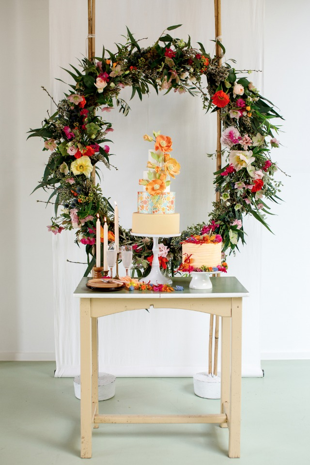 wedding cake table with a vintage vibe