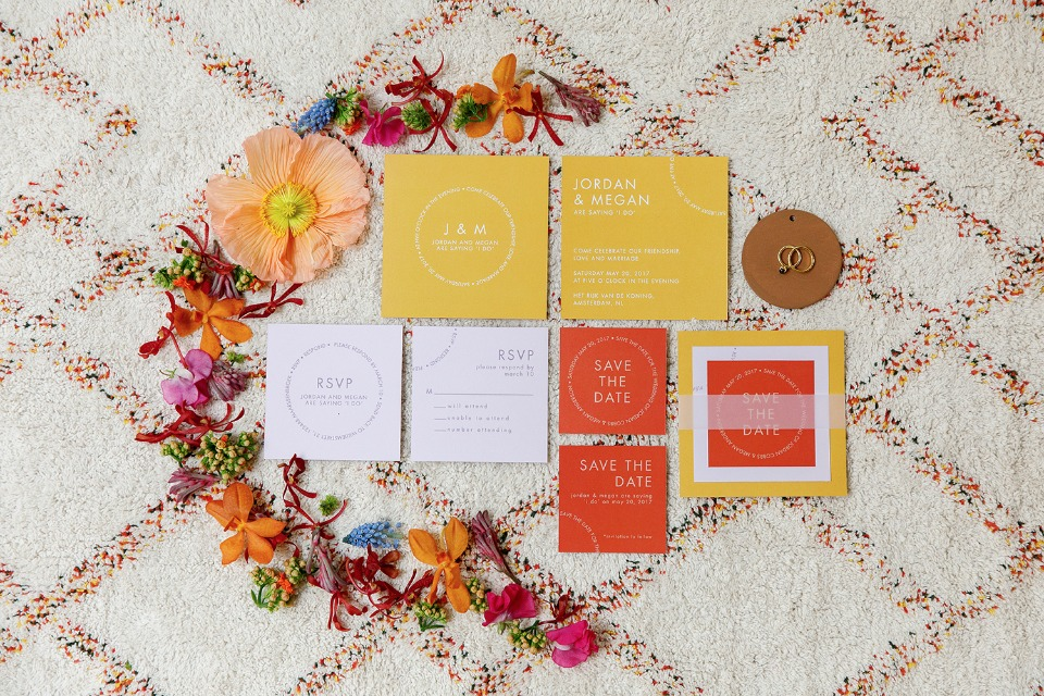 modern wedding invitation suite in orange and yellow
