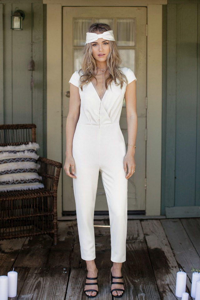 wedding rehearsal pant suit white