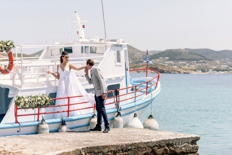 Bride and Groom 's Arrival by boat! Capture by Phosart from Modern, boho beach wedding in Paros
