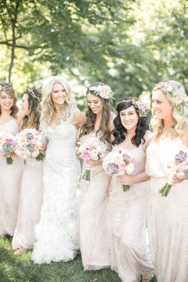blush bridesmaids with boho flower halos