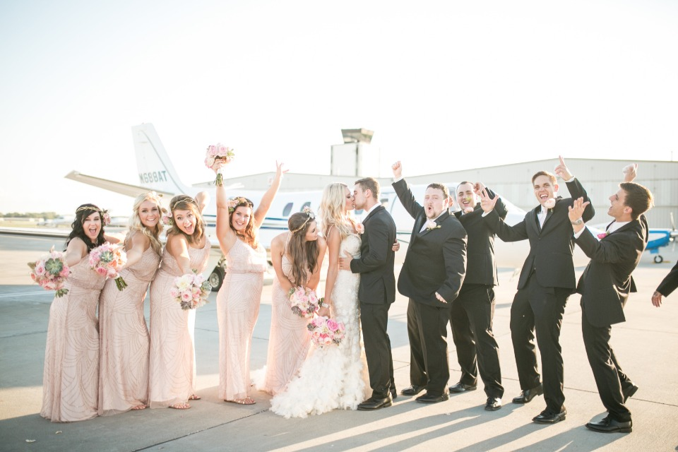 wedding party in black and blush