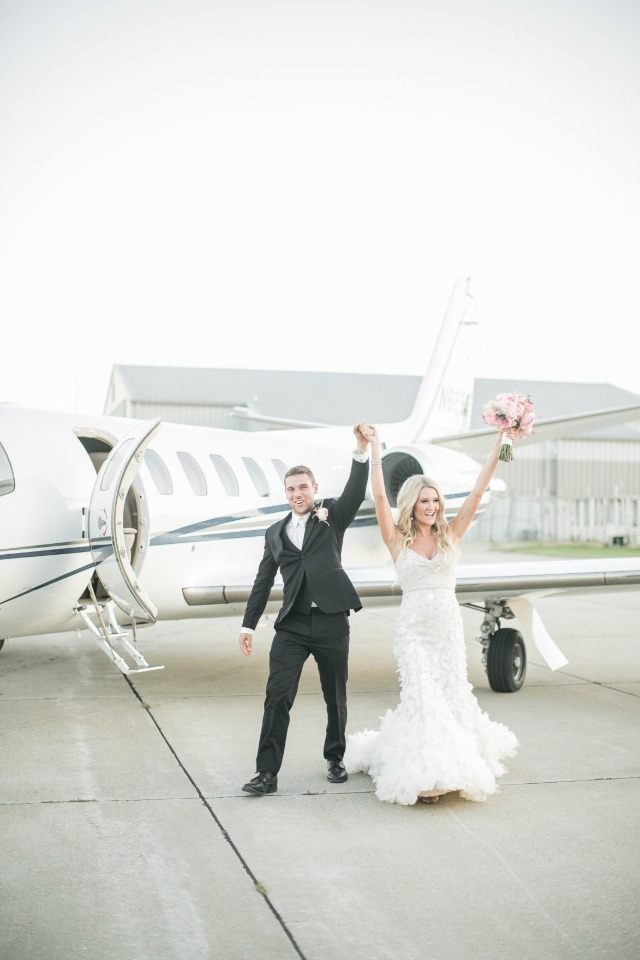 jet setting bride and groom