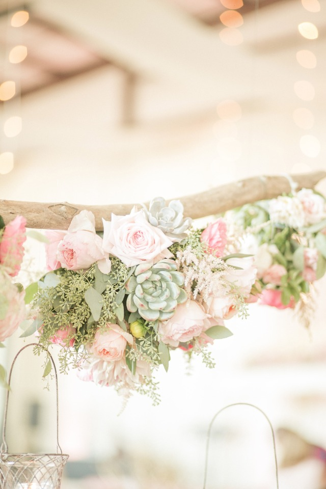 table halos with roses and succulent s