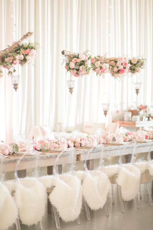 modern rustic chic pink wedding decor