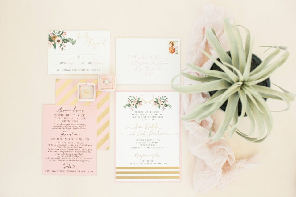 blush and gold modern boho style wedding stationery