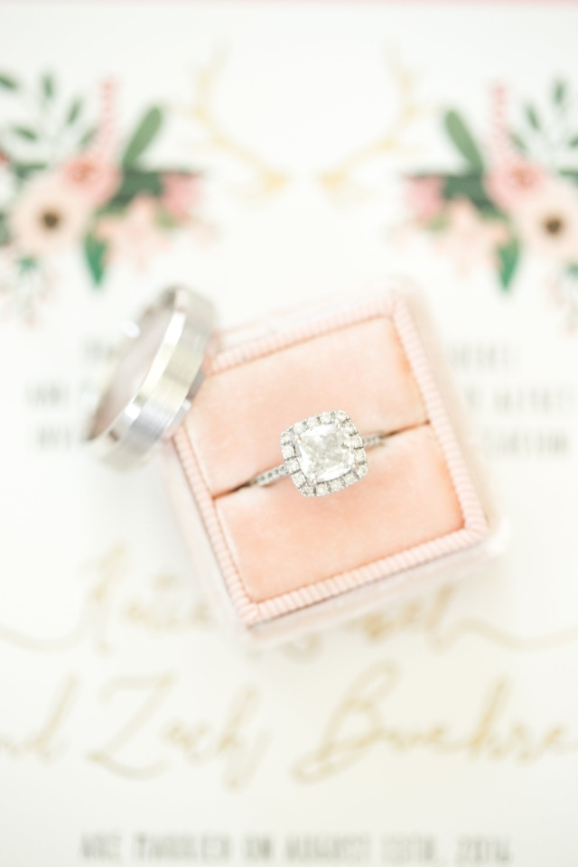 Mrs Box wedding ring box in blush