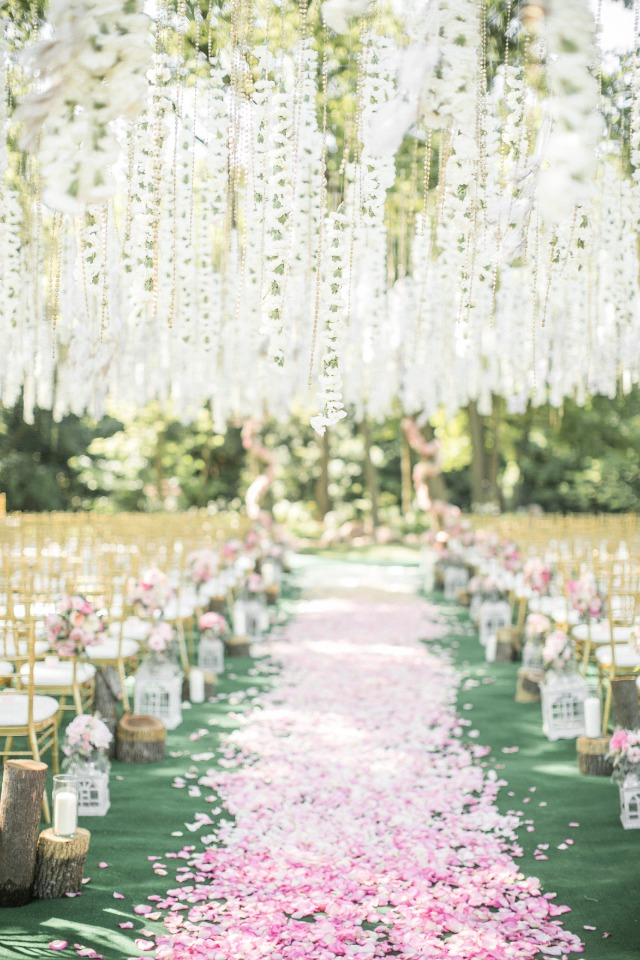 hanging flower chain wedding ceremony decor and ombre flower petal aisle decor
