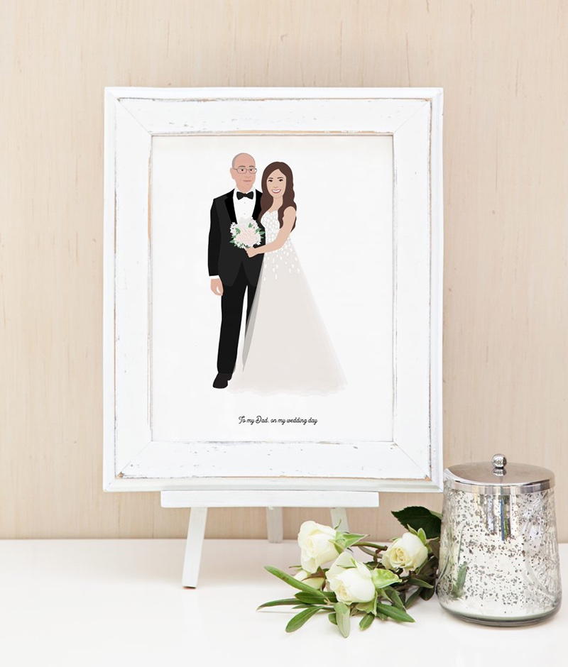 Miss Design Berry's Father of the Bride Portrait is the perfect gift for the Father of the Bride. Custom illustrations of the Bride
