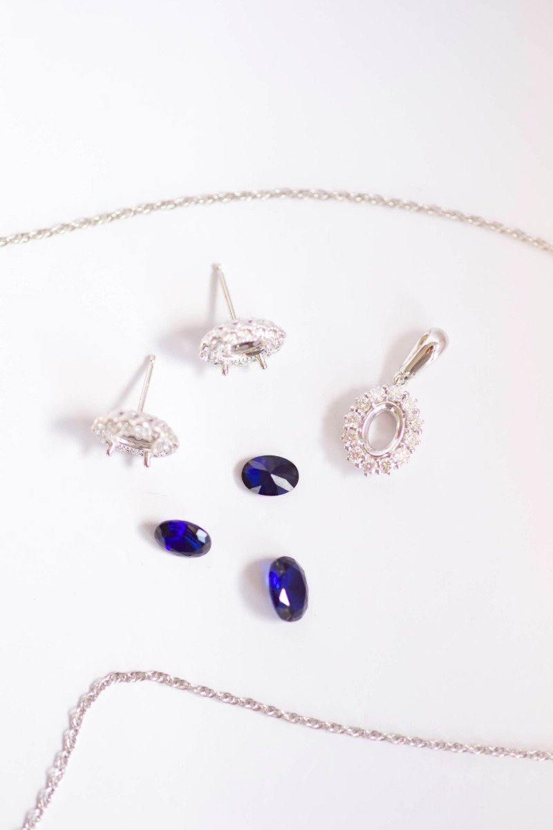 Hand-selected sapphires for a custom bridal jewelry set, by J'Adorn Designs custom jeweler