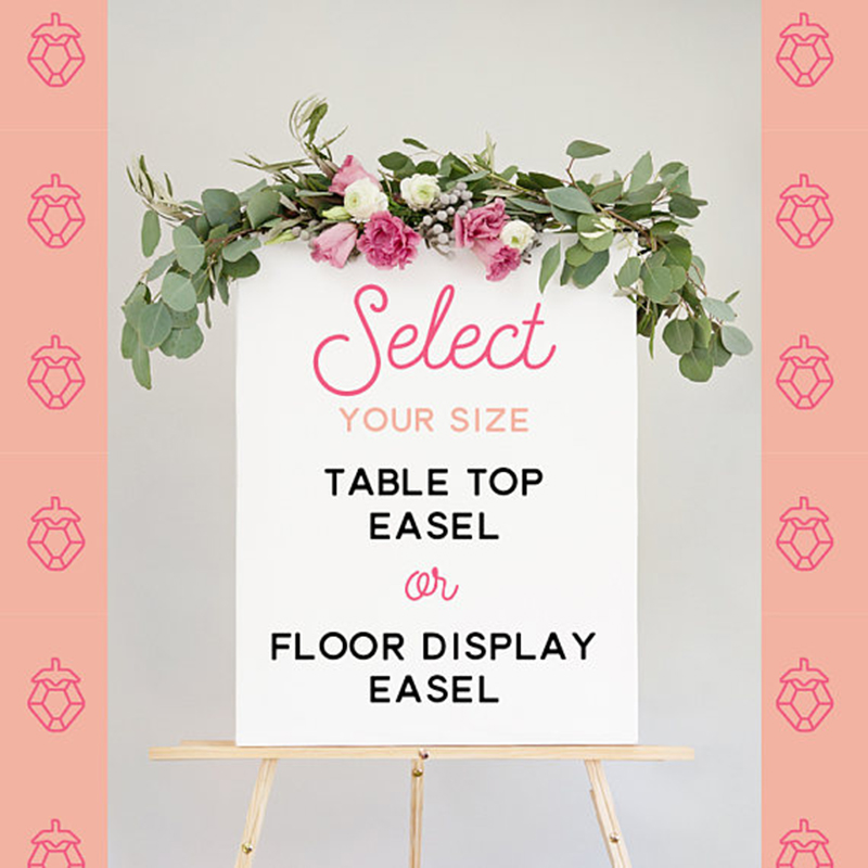 Miss Design Berry's 25 collapsible table top easel is made of natural wood. This easel is perfect for displaying signs on a tabletop