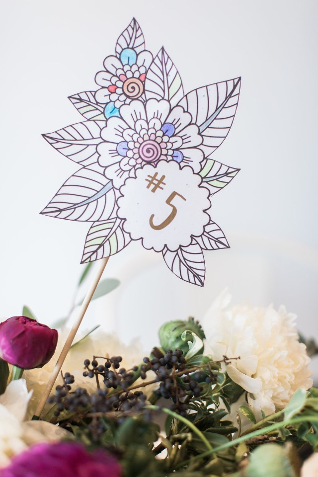 Coloring book inspired table numbers