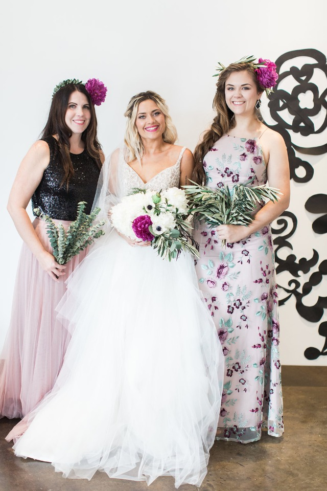 Mismatched Jenny Yoo bridesmaid dresses