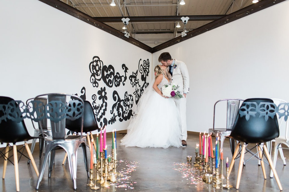 Coloring book inspired ceremony decor