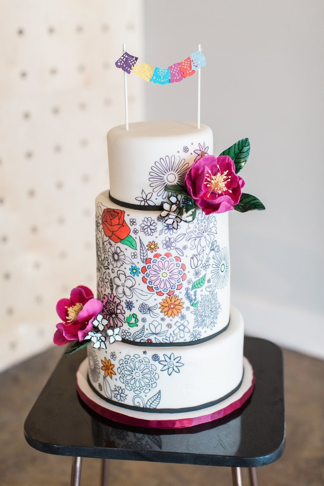 Coloring book inspired wedding cake