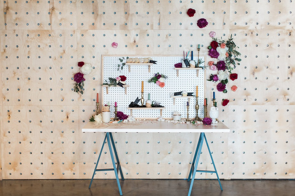 Peg board dessert wall