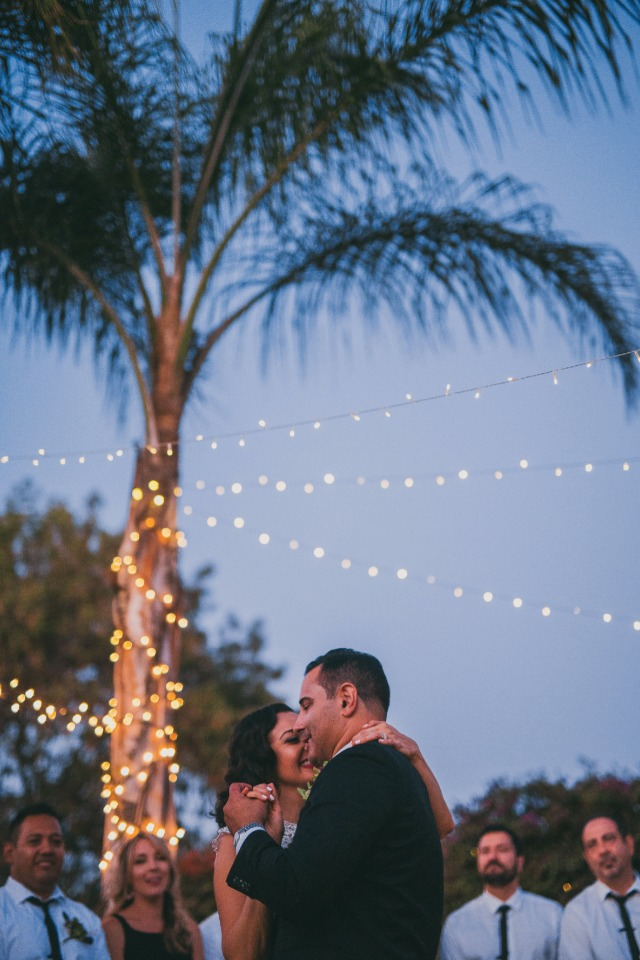 Mr and Mrs. first dance under the twinkle lights