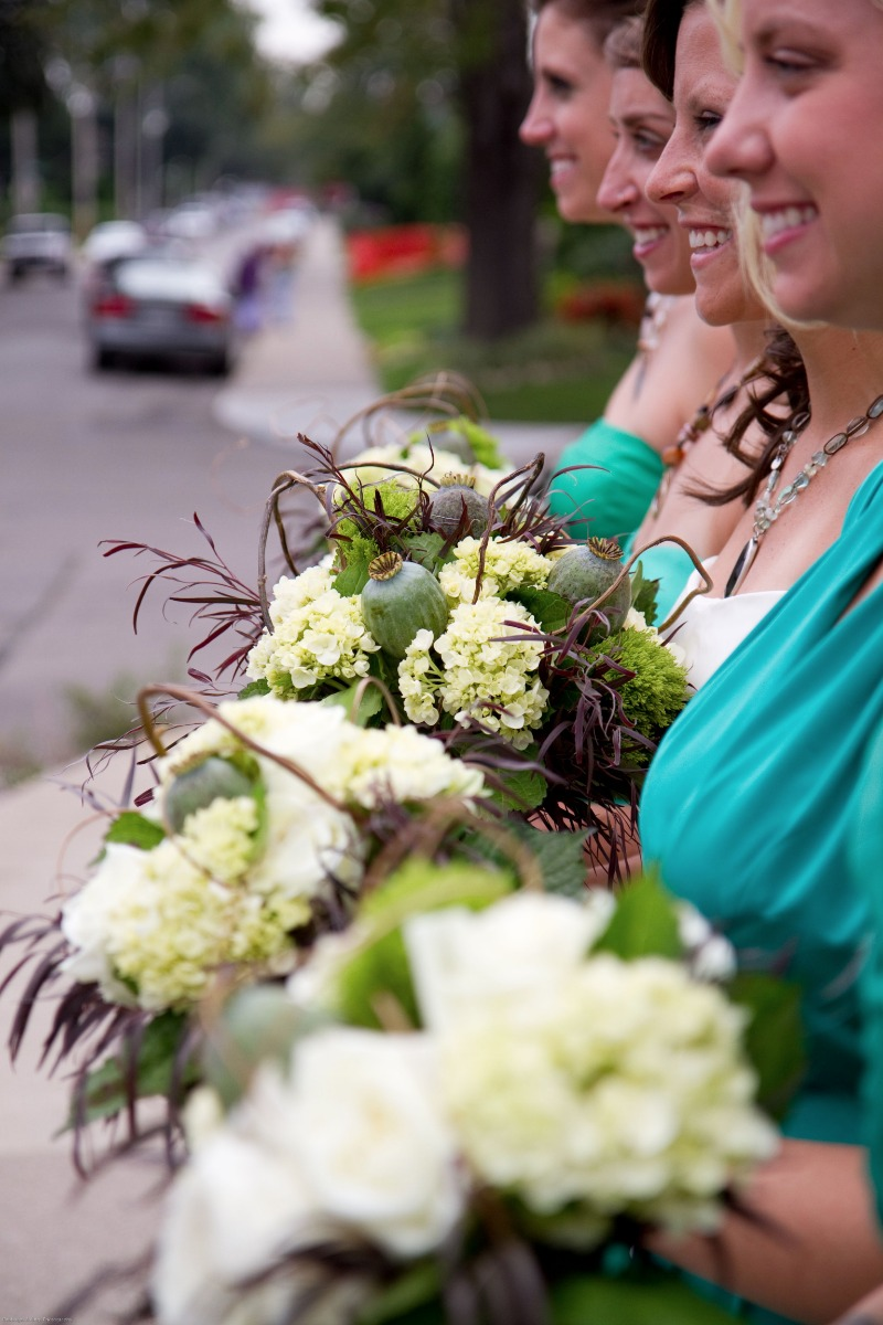 These bouquets were wrapped with curly willow branches. Don't be afraid to try something a little bit different for your bouquets