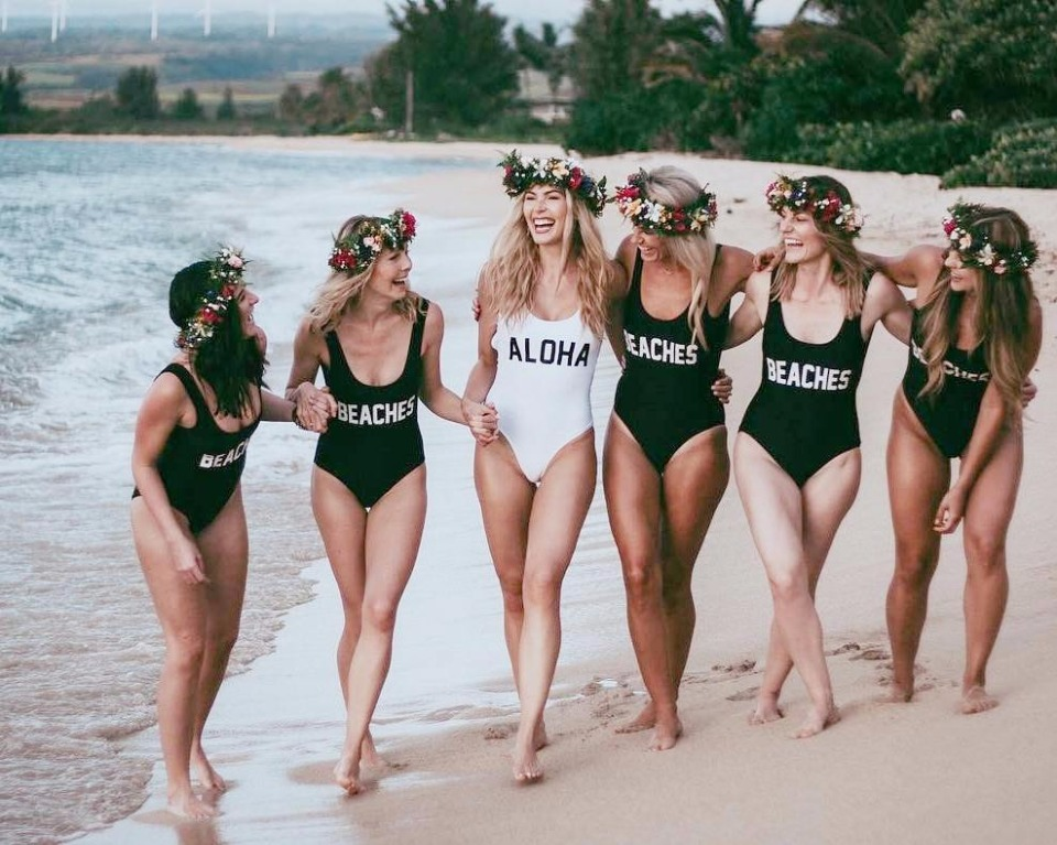 Aloha and Beaches one-piece suits from A Dash Of Chic