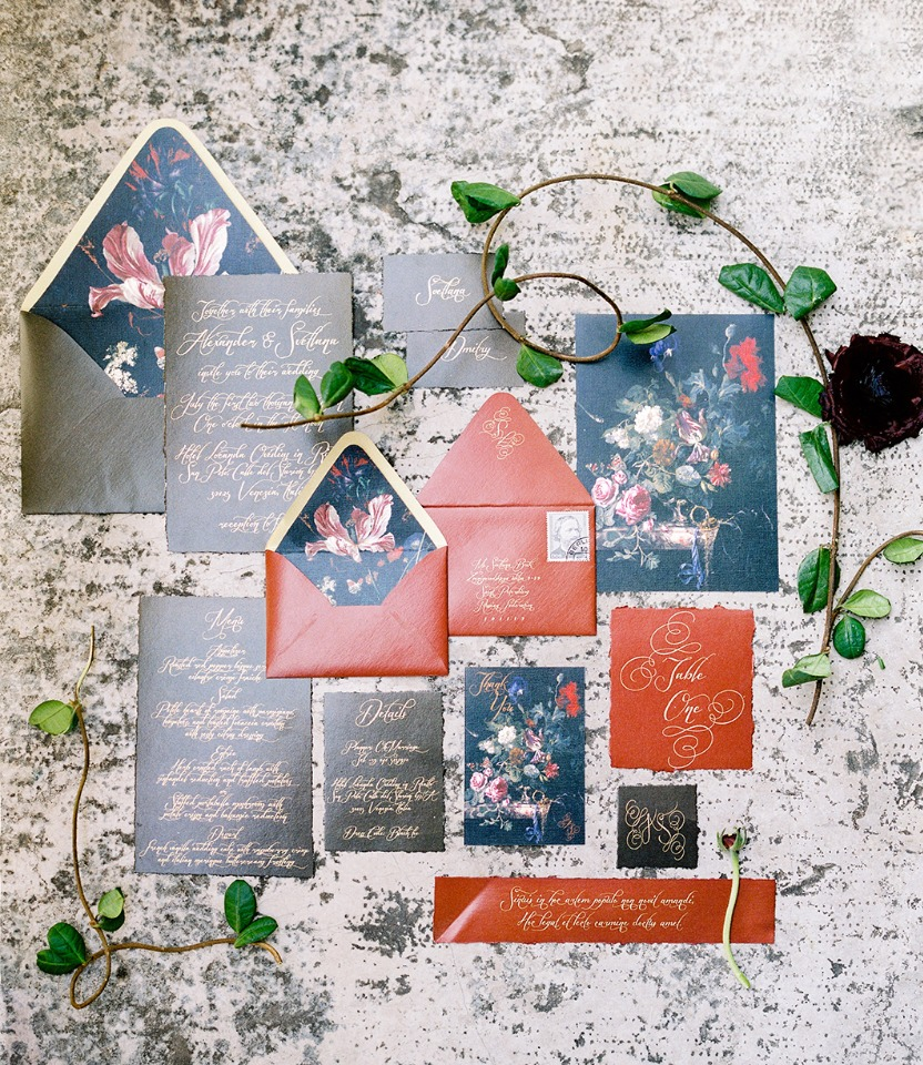 blue red and gold wedding stationery