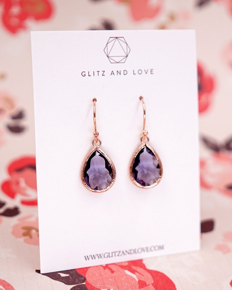 Tanzanite Purple Teardrop jewelry set. Perfect handmade bridal jewelry for simple and classy brides and bridesmaids. Earrings, Necklace