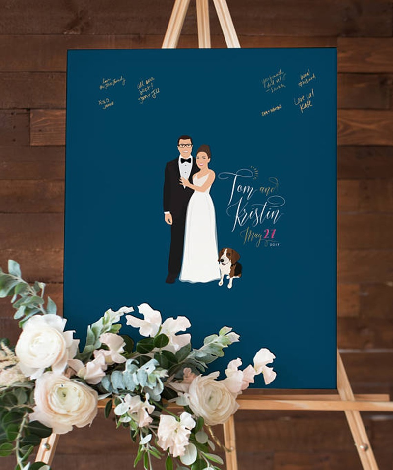 Miss Design Berry's navy guest book alternative couple portrait guest book captures the love and well wishes of your wedding guests