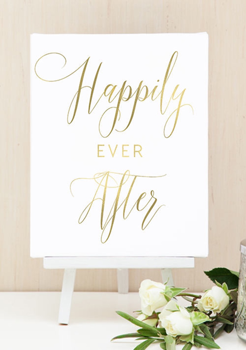 Miss Design Berry's Gold and White happily ever after sign features dynamic type for an elegant yet modern look, perfect for your Gold