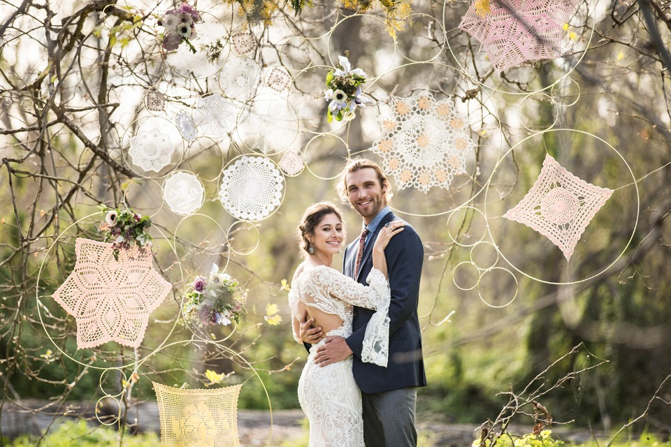 Doily dream catcher backdrop