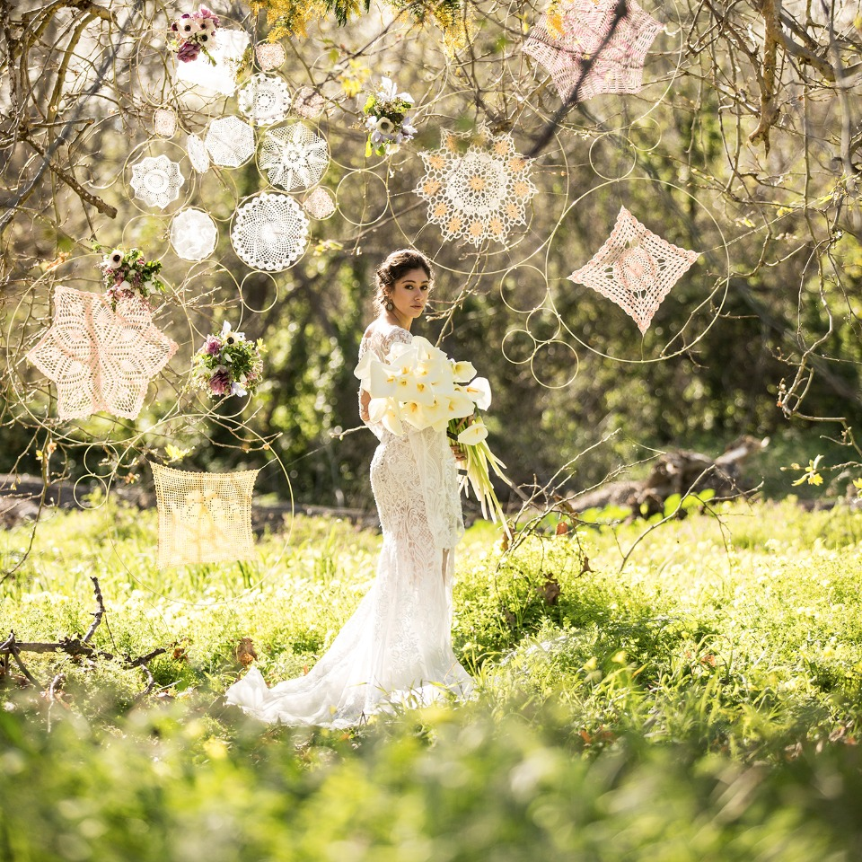 Boho bridal with dream catchers