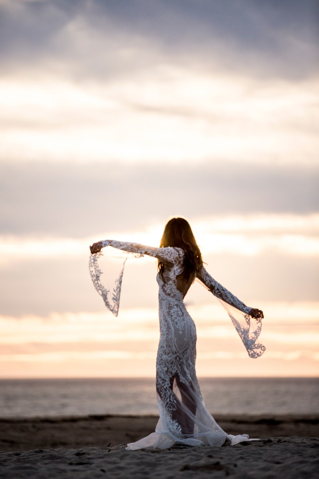 Boho bride on the beach