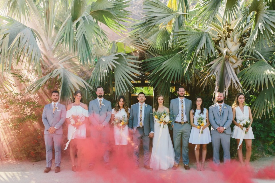 smoke bomb wedding party photo
