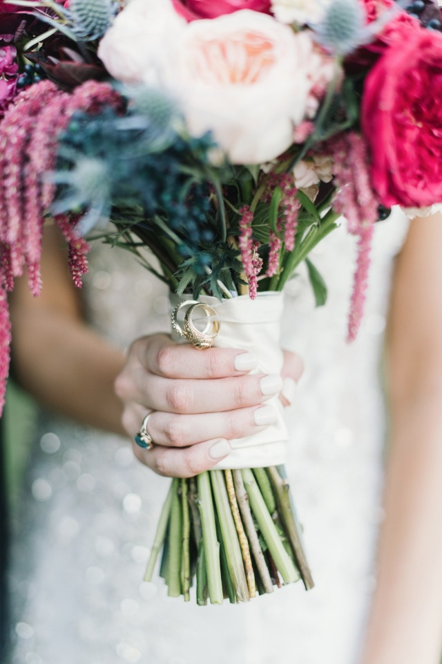 wedding rings wrapped onto wedding bouquet