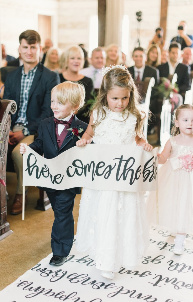 here comes the bride ring bearer and flower girl banner
