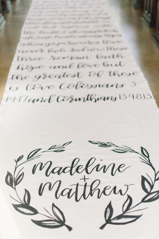 calligraphy quote aisle runner