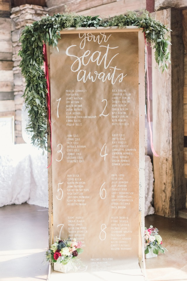 brown paper wedding seating display